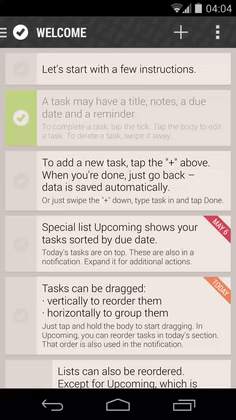 List of tasks with left drawer for quick access to all lists.